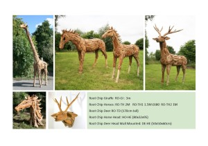 Full size wood chip animals