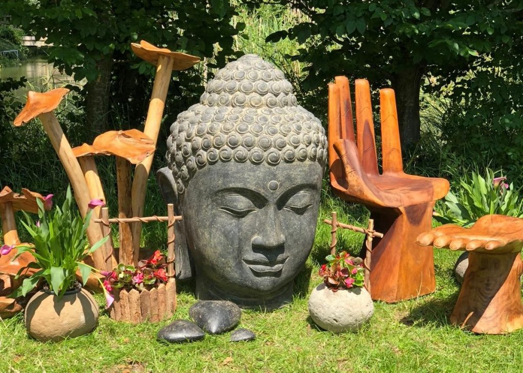 Group Shot of buddha head hand chair mushroom clusters