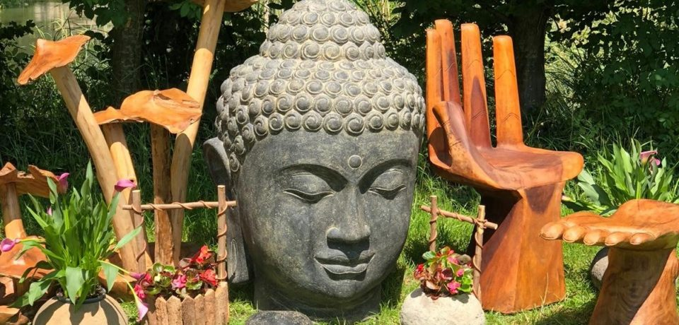 buddha head, hand chair, mushroom clusters, rustic wood furniture